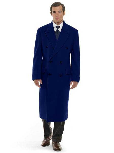 men's 44 Inch Long Length Navy Blue Double Breasted Wool Blend Overcoat