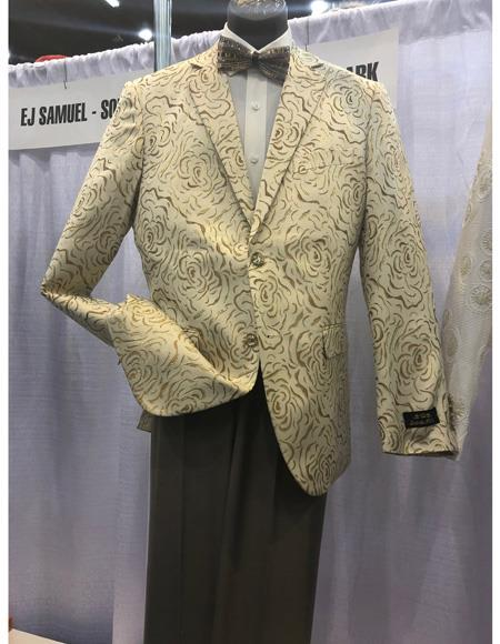 Mens Cream Single Breasted Two Button Suit