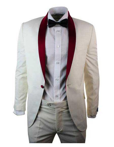 men's Cream ~ Ivory One Button Single Breasted Burgundy Shawl Lapel Blazer