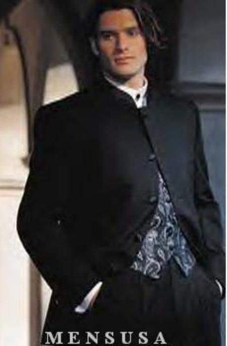 men's Collarless Blazer Nehru Jacket Marriage Groom Wedding Black