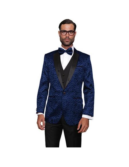 Single Breasted Wool One Button  Navy Suit