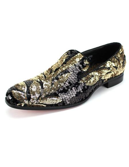 Product# EK484 Mens Black ~ Gold Slip On Shoe