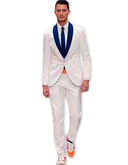 Product# EK485 Mens White One Button Suit Navy Blue Shawl Lapel