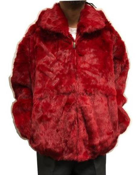 Mens Rabbit Fur Hooded