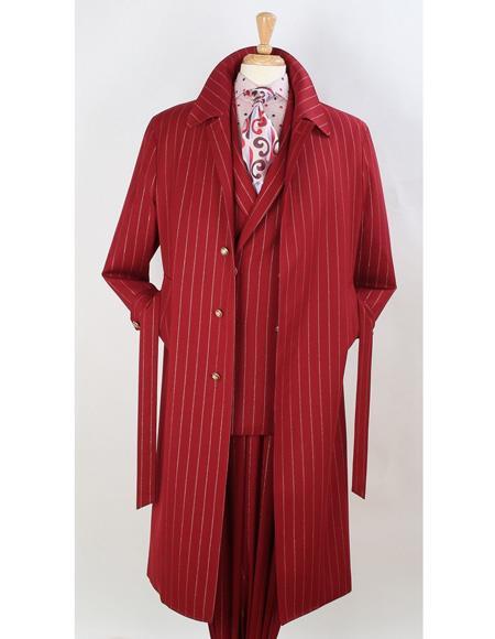 Product# EK506 Full Length Pinstripe Stripe Topcoat Overcoat ~ Trench Coat Wool Fabric Burgundy ~ Red
