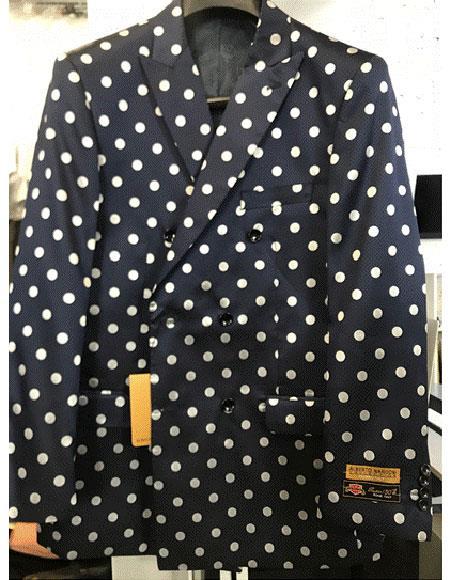 Navy Blue or Black & White Polk Dot Double Breasted Blazer Sport Jacket Coat
