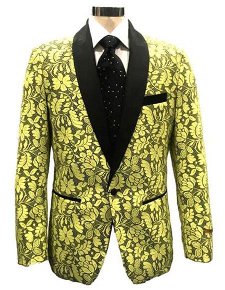 men's Lime Green Single Breasted Shawl Lapel Blazer