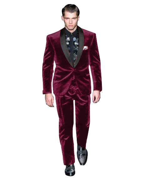 Breasted Dark Burgundy Suit