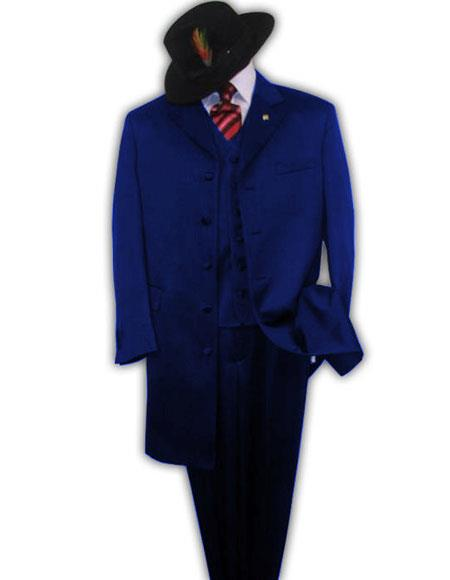 men's Single Breasted Navy Blue Zoot Fashion Long Suit For sale ~ Pachuco men's Suit Perfect for Wedding