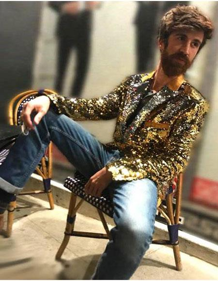 men's 1 Button Reversible Gold & Silver Sequin Blazer ~ Suit JacketGold ~ Silver