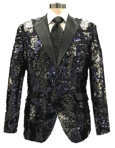 men's Black ~ Silver Two Button Shiny Pattern Reversible Sequin Blazer