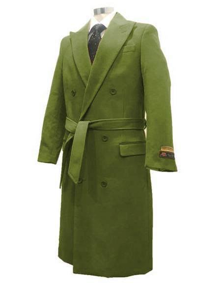 Dark-Olive Double Breasted Overcoat