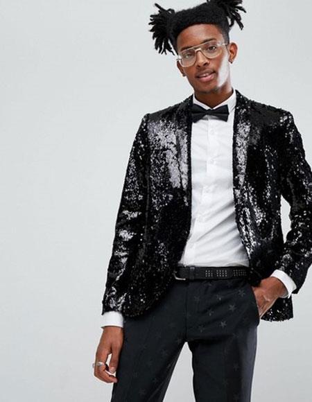 Mens One Button Single Breasted Black Tuxedo