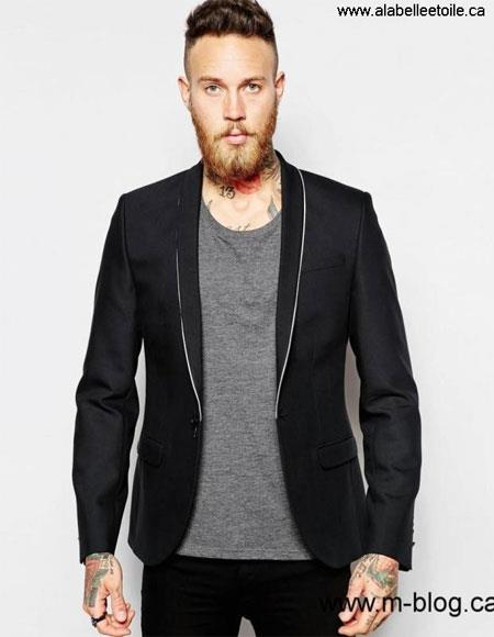 men's One Button Single Breasted Shawl Lapel Black Blazer