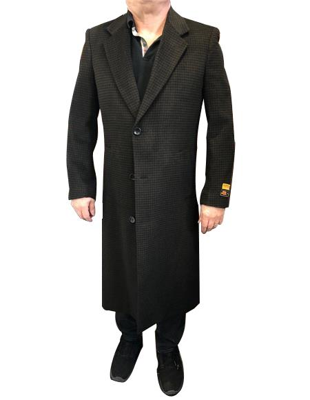 Product# VT47 Alberto Nardoni Mens Brown & Black Mixed Tweed ~ Herringbone Houndstooth Cashmere Blend Overcoat ~ Topcoat