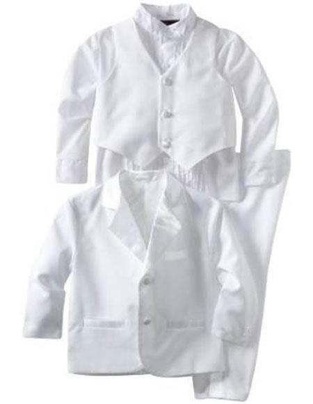 Product# VT58 Boys Kids ~ Children White Tuxedo