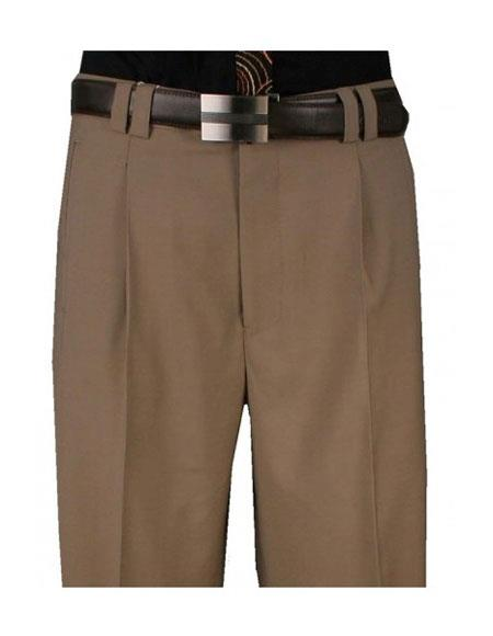 Product# VT72 Mens 1920s 40s Fashion Clothing Look ! Single Pleat Wide Leg 100% Pure Wool Khaki Pant