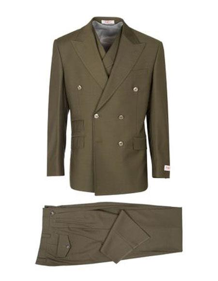 Product# VT85 Mens Authentic 100% Wool Super 150's Two Button Double Breasted Olive Green Suit