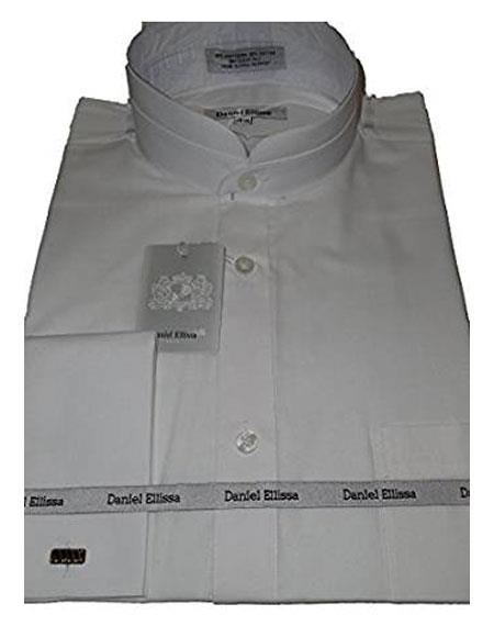 Product# DS3002C Daniel Ellissa Mens Collarless French Cuff White Shirt