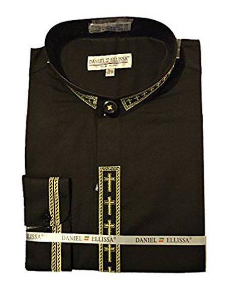 Product# VTDS2005C Daniel Ellissa men's Collarless Black ~ Gold Embroide Shirt