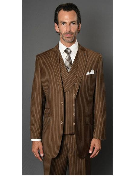 Product#VT119 Mens Striped Pattern Bronze Single Breasted Two Button Suit