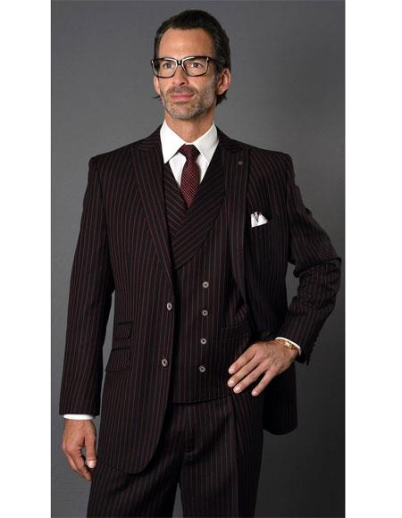 Product#VT121 Mens Black ~ Red Single Breasted Two Button Striped Pattern Suit
