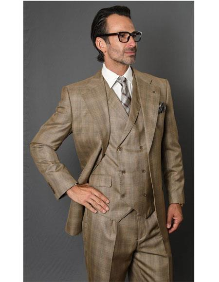 VT123 Mens Single Breasted Notch Lapel Two Button Tan Suit
