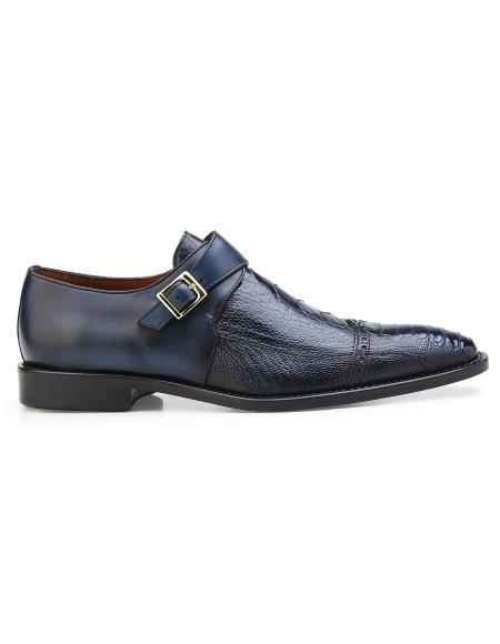Product#JA855 Mens Authentic Belvedere Brand Slip On Leather Lining Single Buckle Black Shoe