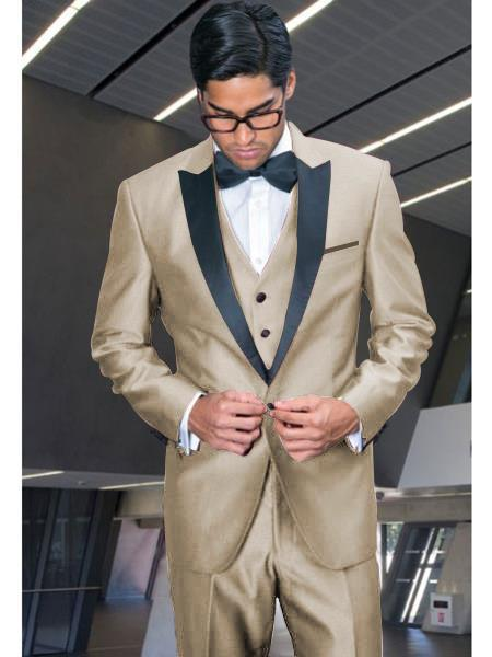 Product#EK944 Mens Beige Single Breasted One Button Beige Tuxedo