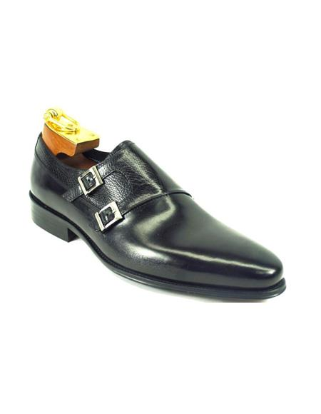 Product#JA879 Mens Fashion Shoes by Carrucci - Double Buckle Black