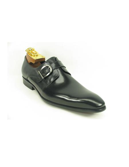 Product#JA885 Mens Slip-On Shoes by Carrucci - Side Buckle Black