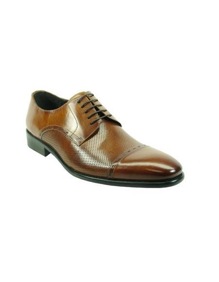 Product#JA908 Mens Lace-Up Shoes by Carrucci - Cognac