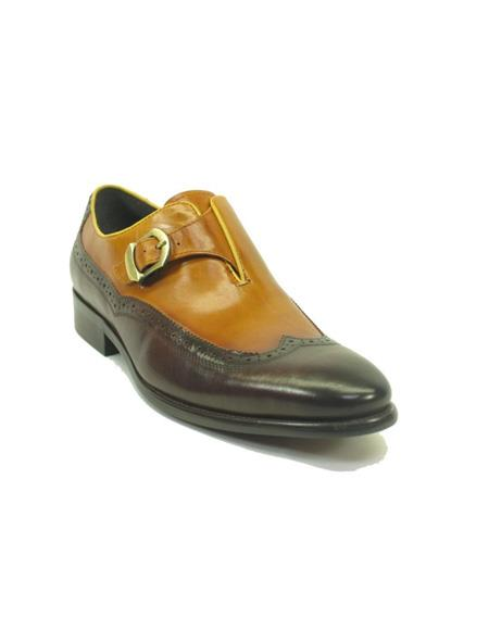 Men's Monk Strap Leather Wingtip Loafers by Carrucci - Brown/Tan