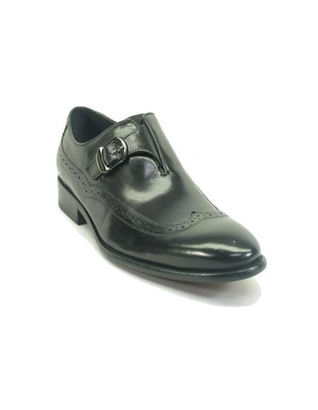 Product#JA917 Mens Monk Strap Leather Wingtip Loafers by Carrucci - Black