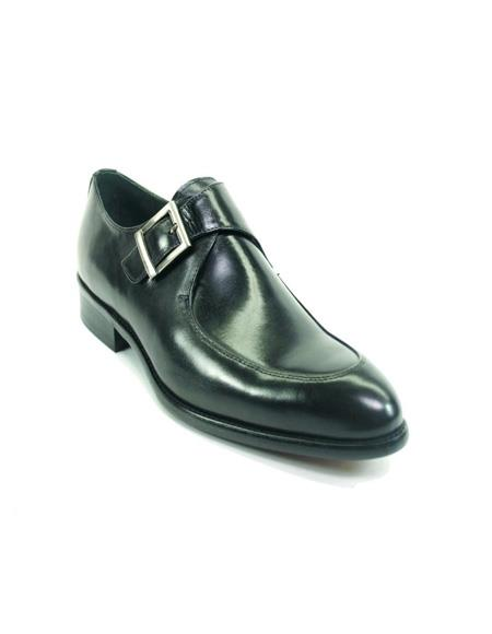Men's Monk Strap Leather Moc Toe Loafers by Carrucci - Black