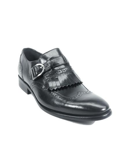 Men's Monk Strap Leather Loafers by Carrucci - Black