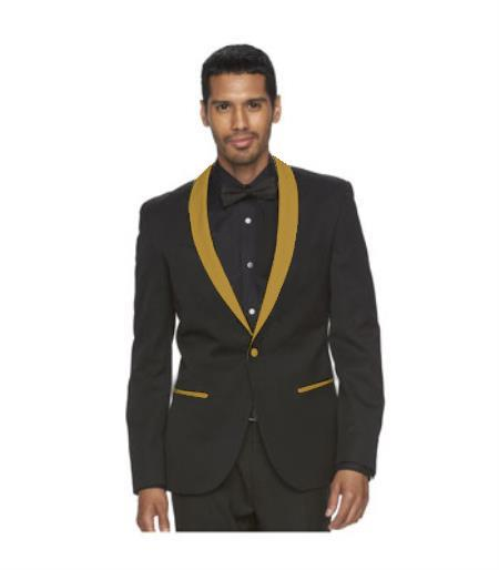 One Button Black Suit