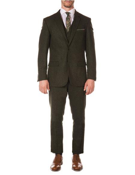 SKU#VT147 Mens Hunter Green Dark Olive Green Slim Fit Tween  Herringbone Vested Texture Vintage Looking Suit