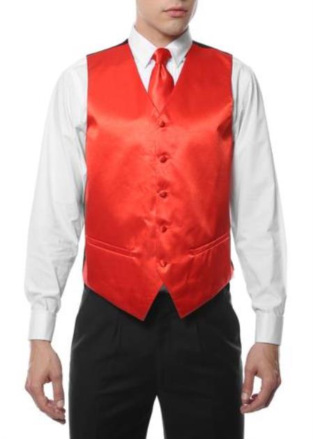 Men's 4PC Big and Tall Vest & Tie & Bow Tie and Hankie Red