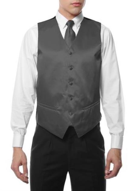 Product#VT160 Mens 4PC Big and Tall Vest & Tie & Bow Tie and Hankie Gray
