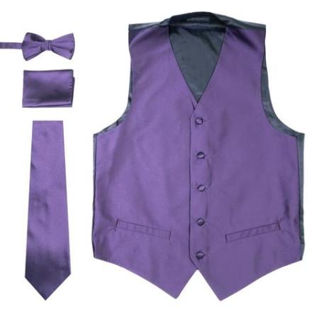 Product#VT178 Mens 4PC Big and Tall Vest & Tie & Bow Tie and Hankie Dark Purple