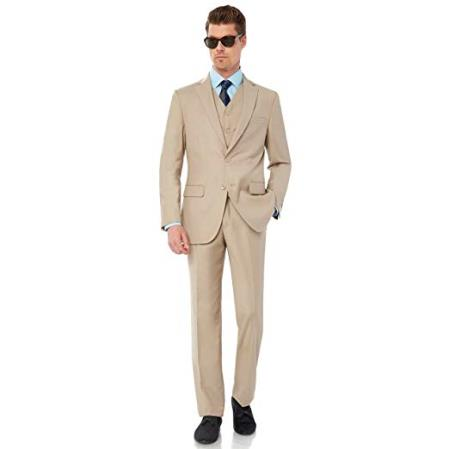 SKU#VT197 Mens Single Breasted Two Button Modern Fit Tan Suit