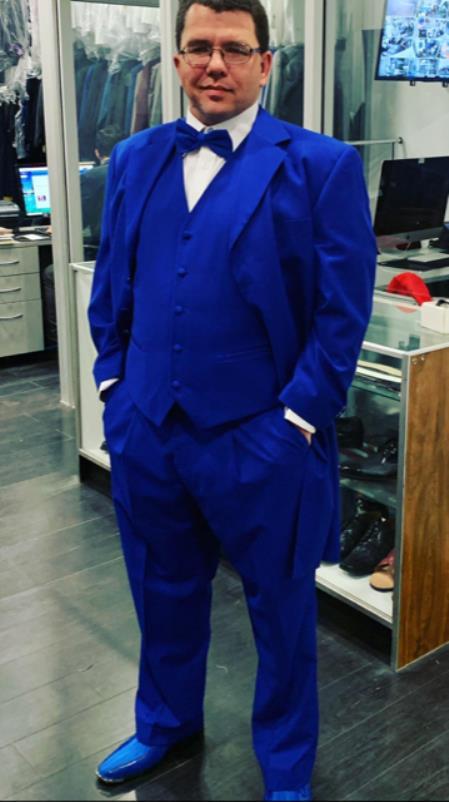 Men's Single Breasted Notch Lapel Dark Blue Suit