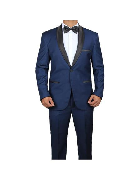Men's Shawl lapel James Bond Midnight Blue Two Piece  Tuxedo
