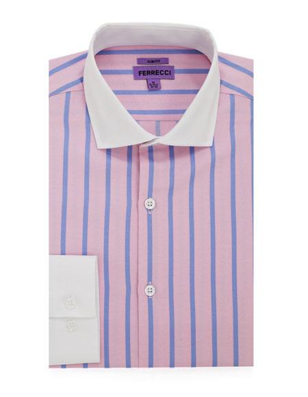 WINSTON-A22PNK S32 # Spread Collar Slim Fit Dress Shirt Cotton Pink