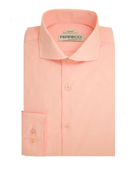 LEO-PINK S32 14.5 # Spread Collar Slim Fit Dress Shirt Cotton Pink