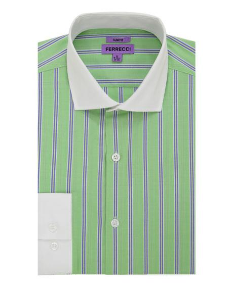 BENTLEY-A24GRN S32 # Spread Collar Slim Fit Dress Shirt Cotton Green