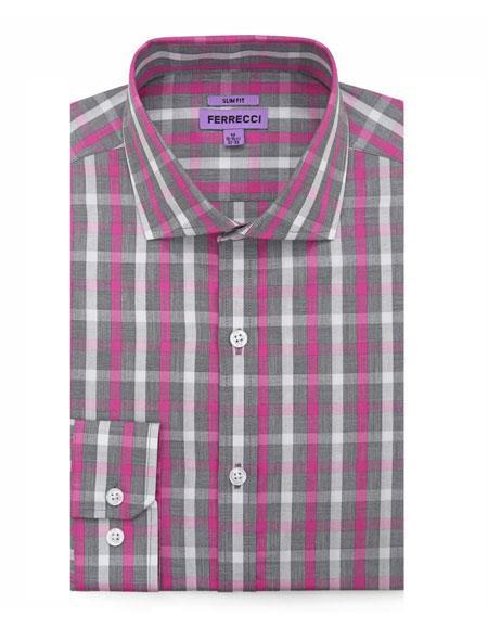 KENTON-A31GRY S32 # Spread Collar Slim Fit Dress Shirt Cotton Grey
