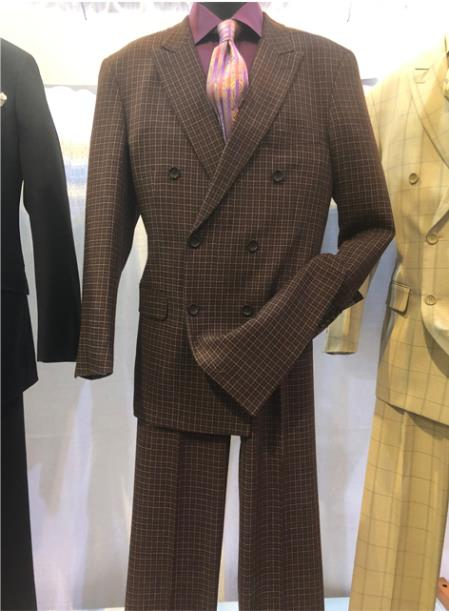 SKU#JA988 Mens Notch Lapel Single Breasted Brown Suit