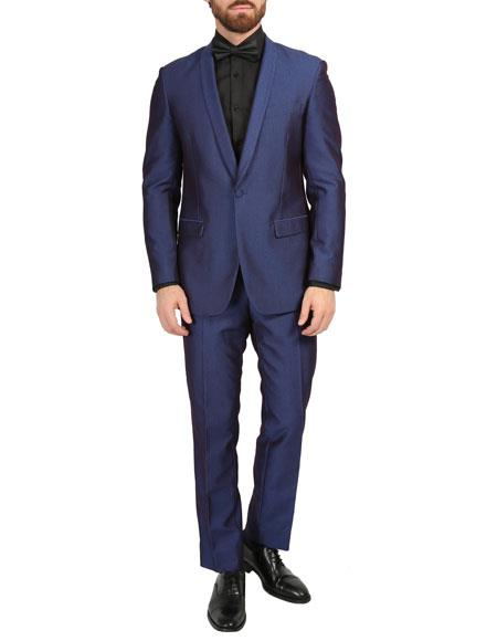 Navy Two Side Vents Slim Fit Pleated Pant and Dinner Jacket for Men